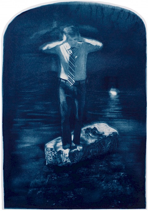 man plugging his ears while stuck in a stone platform with ocean surrounding him metaphor carl jung shadow