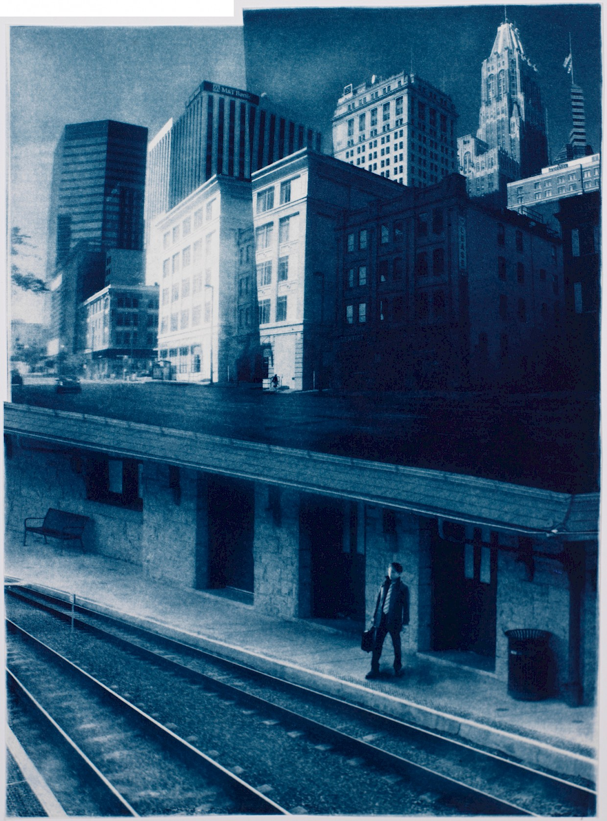 a man commuting at end of business day with immense city in background