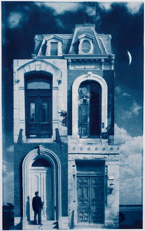man in front of house with four doors, surreal landscape with moon