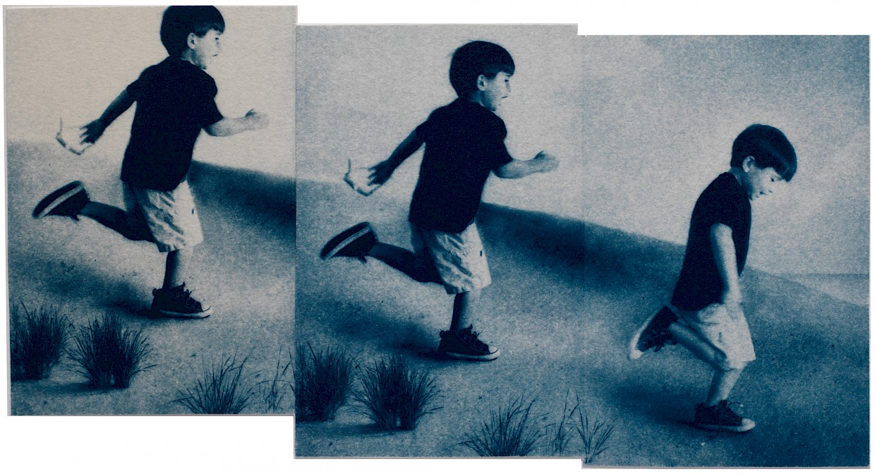 boy running down beach in triptych suggesting deja vu