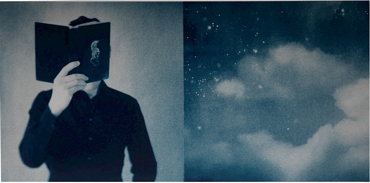 diptych of man with book covering his face and night sky full of stars