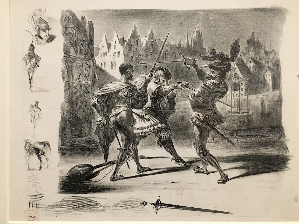 drawing of three men with swords in a duel in front of medieval town
