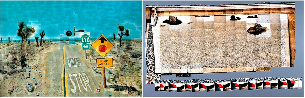 sample joiner collages by David Hockney of a highway and a japanese zen garden