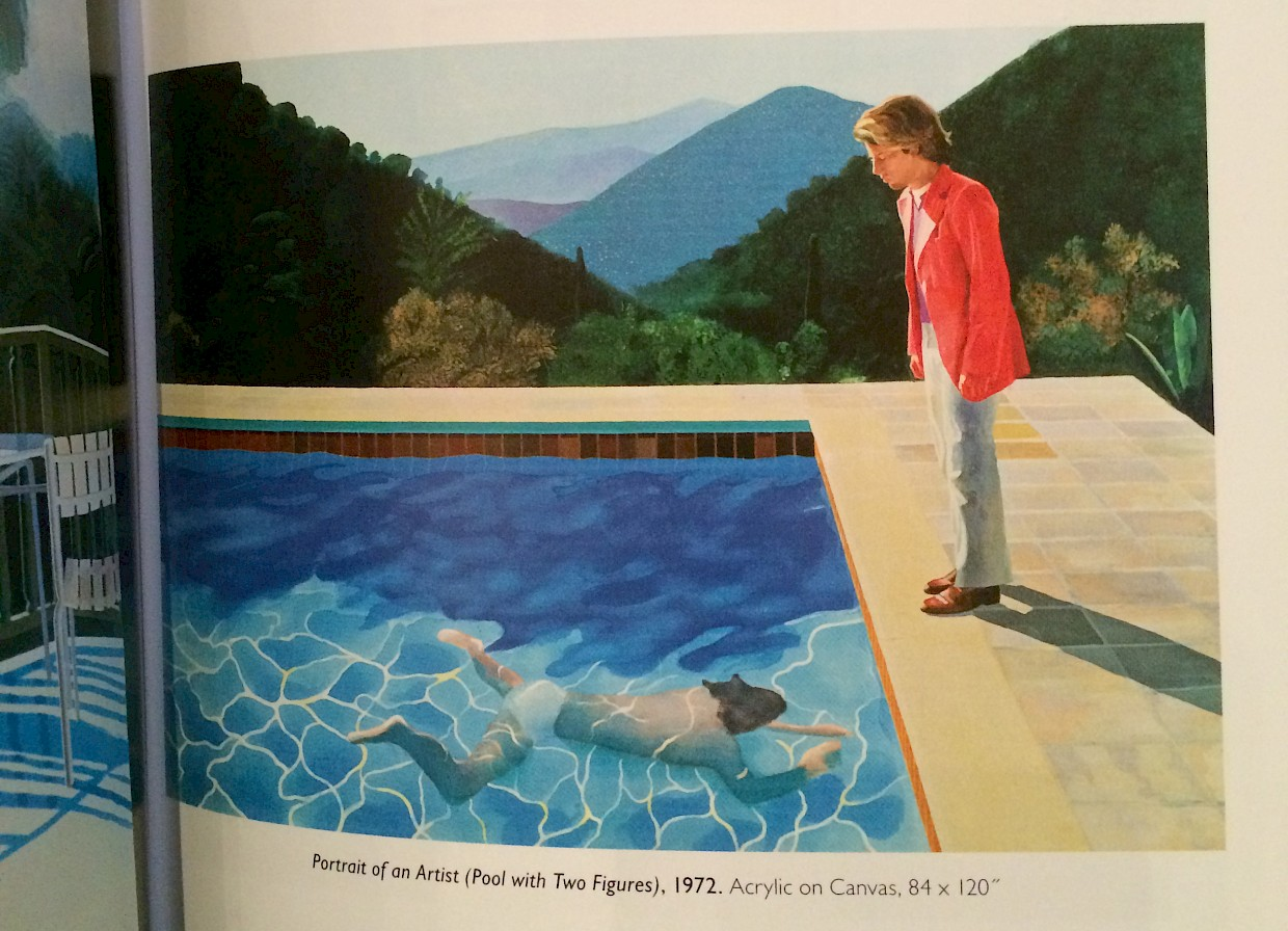 hockney painting of man looking at another man swimming underwater in California swimming pool
