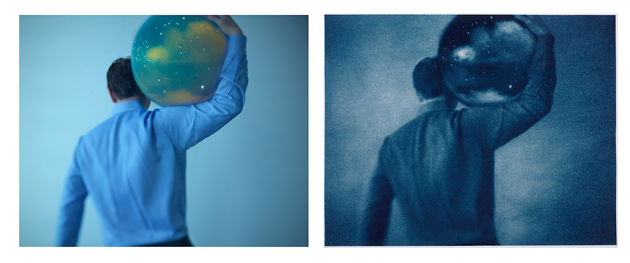 digital versus cyanotype process is compared in this diptych image showing man with sky on his shoulders
