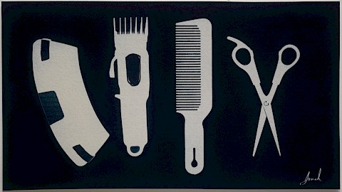 cyanotype outline photograms of haircutting tools hair clipper, comb, scissor