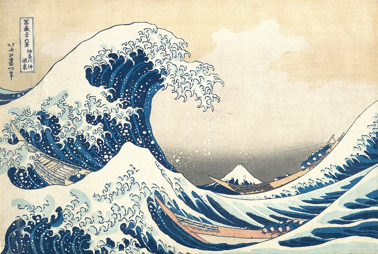 The great wave woodblock print by Hokusai showing 3 boats in the ocean with Mt Fuji in the background