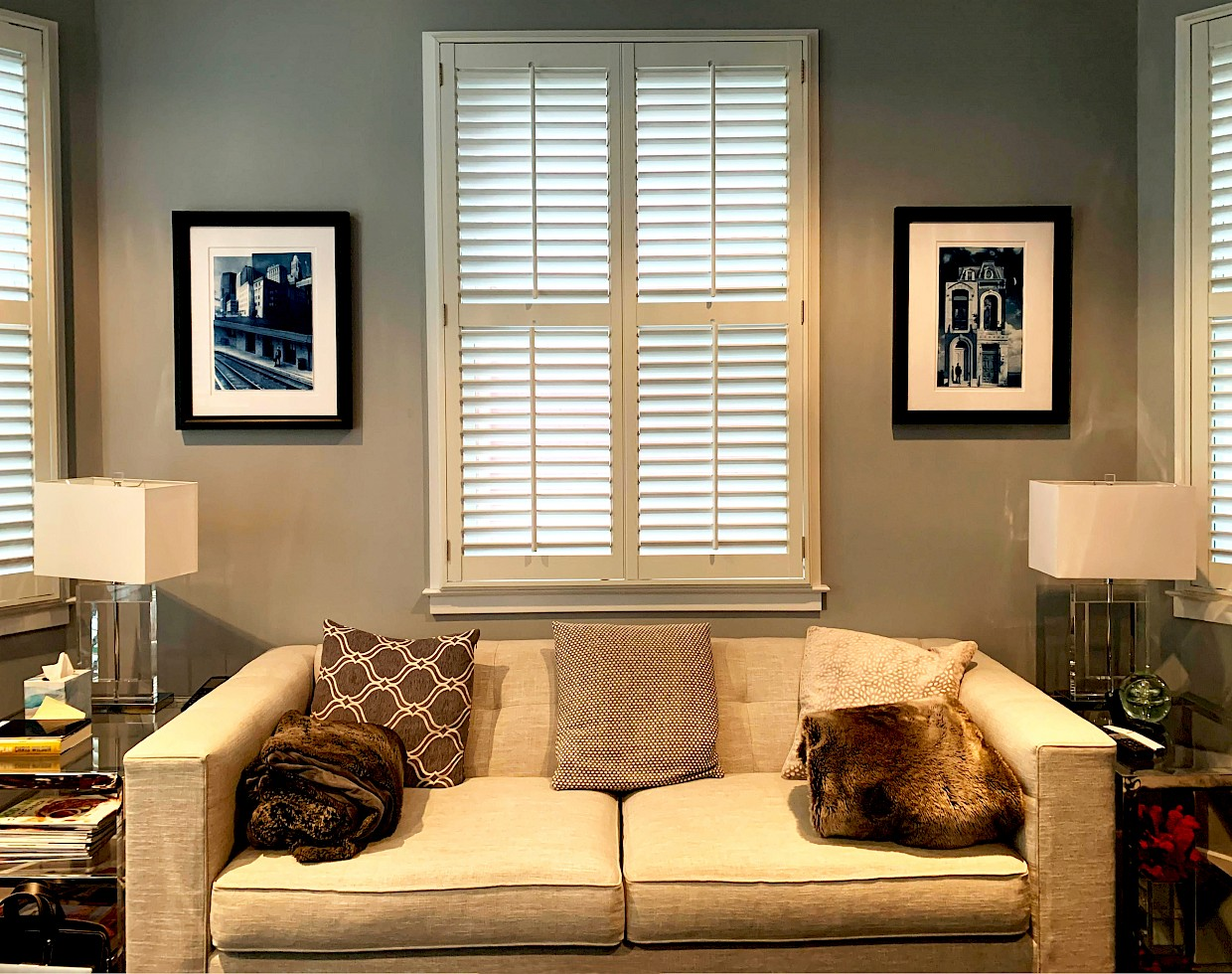 fine art cyanotype prints in living room space
