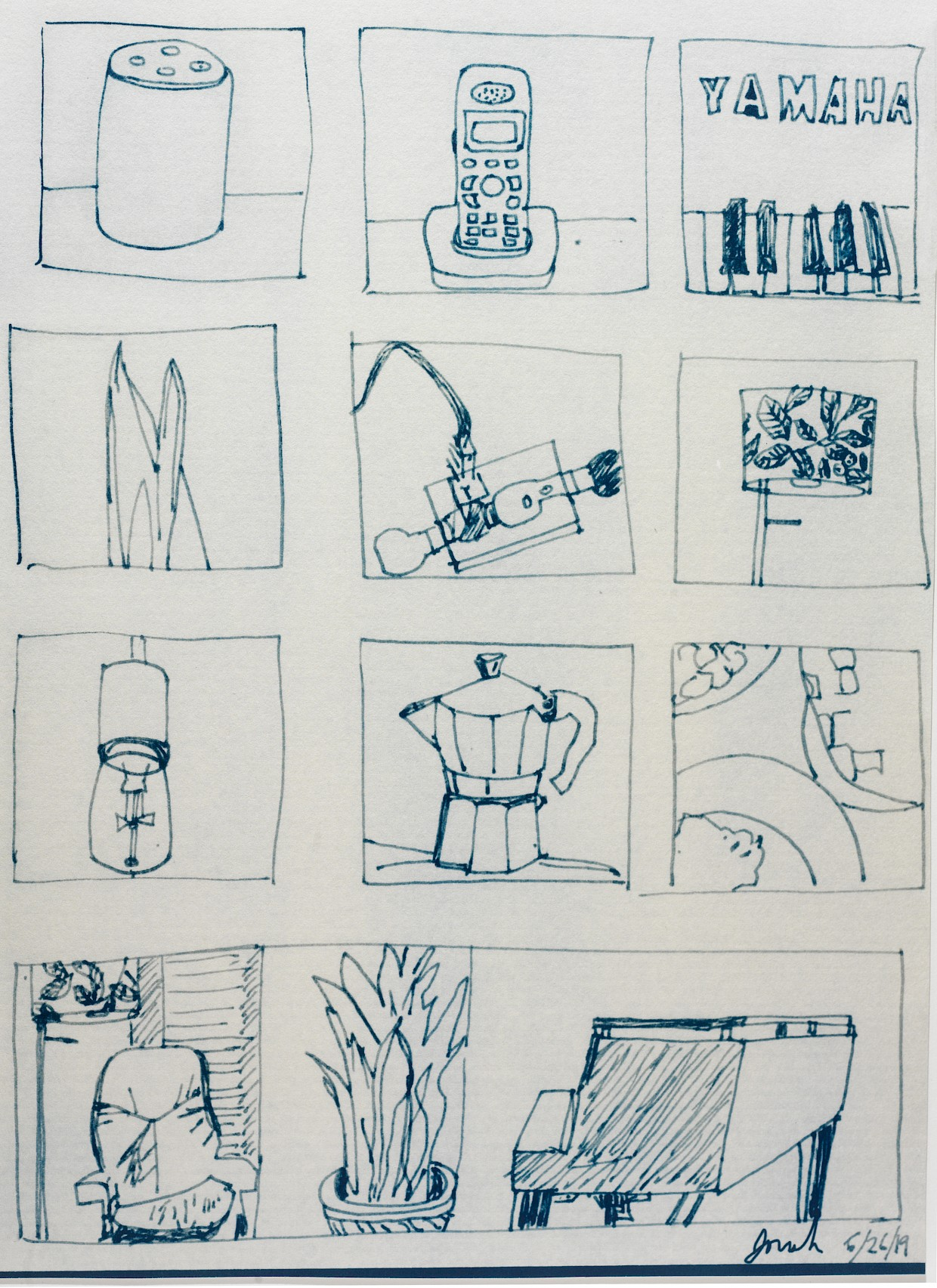 snippets of little drawings of living room items like alexa phone piano lamp plants printed as cyanotype