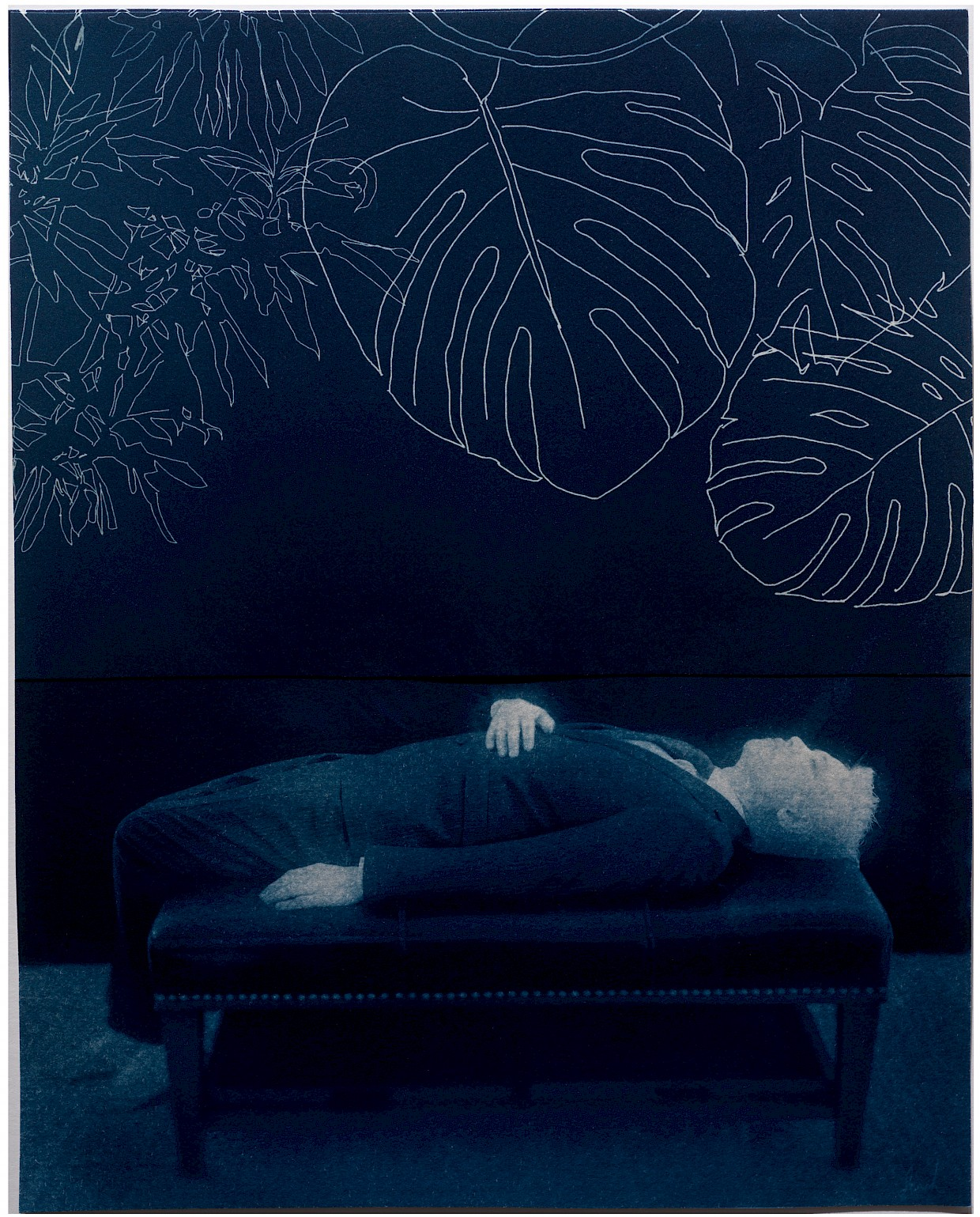 surreal image of Man lying on ottoman with leaves overlooking him. follow your bliss metaphor of walking through life