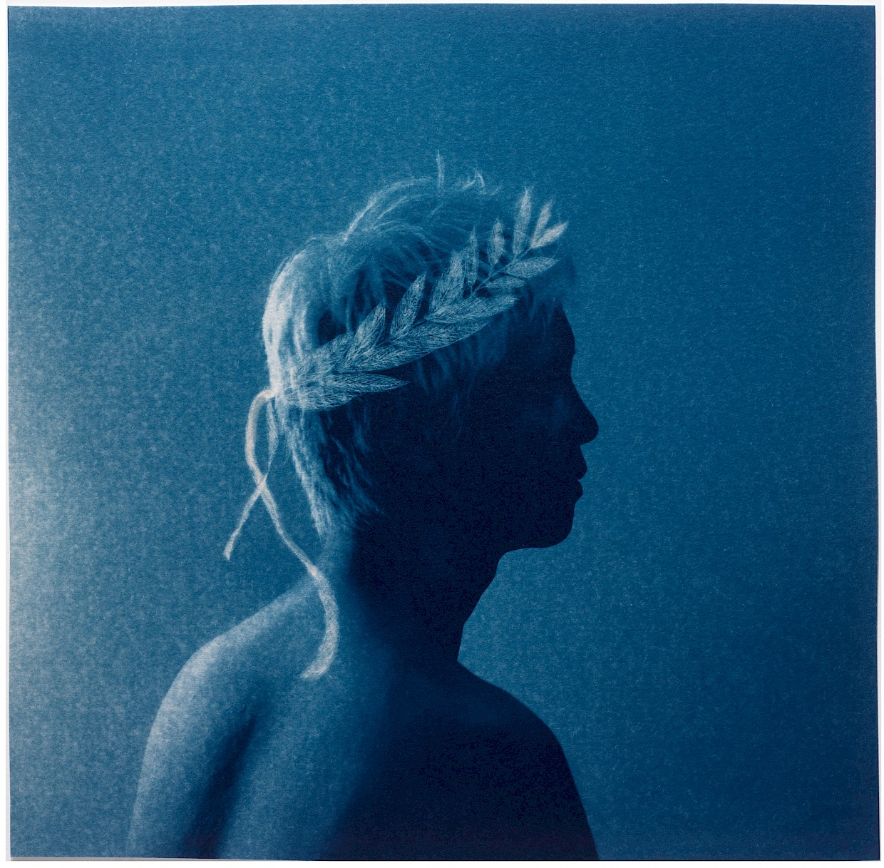 cyanotype art print for sale man with laurel wreath crown symbol for victory love greek mythology example of inspiration by coincidence