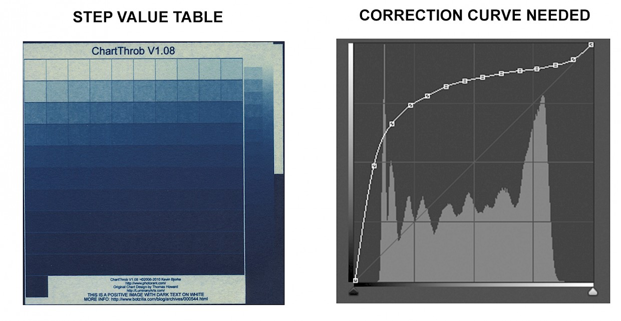 cyanotype digital negative step value table and correction curve