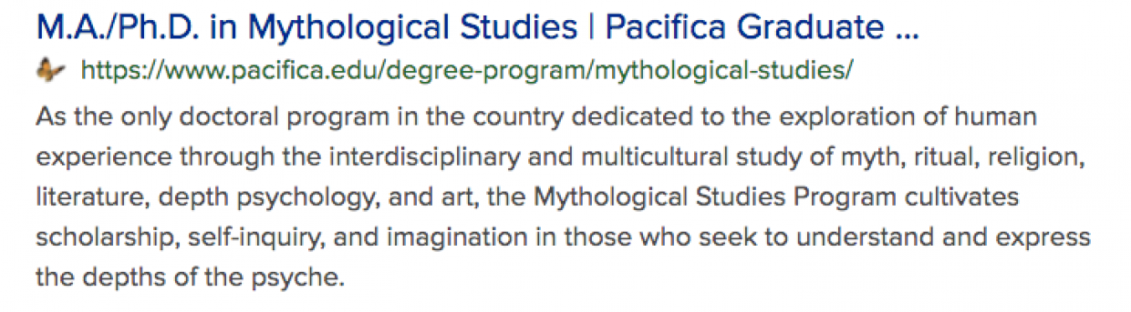 search result showing Pacifica PhD in Mythology