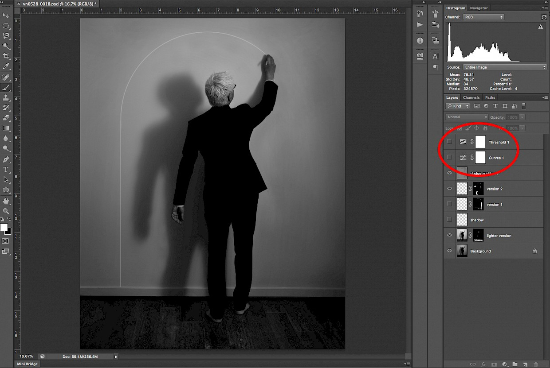 photoshop curve and threshold adjustment